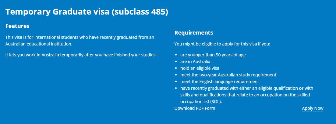 澳洲留學 臨時畢業生簽證 485簽證